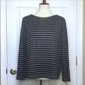 Lafayette 148 Grey Black Striped Long Sleeve Top